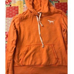 Orange Victoria's Secrete Pink hooded sweatshirt